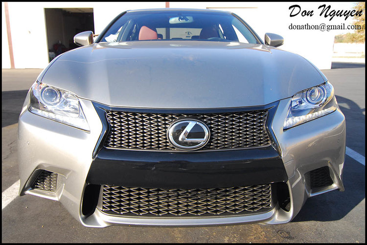 Lexus GS350 - Gloss Black Window Trim, Front Grill and Center Bumper Vinyl Car Wrap
