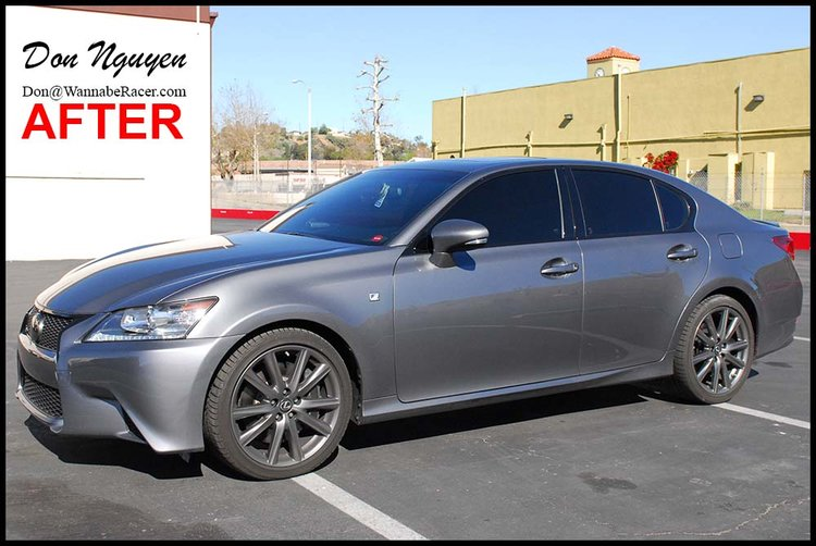 Lexus GS350 F Sport Sedan - Gloss Black Window Trim, Front Grill, and Rear Trunk Bar Vinyl Vehicle Wrap