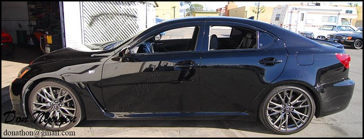 Lexus IS350 F Sport Sedan - Gloss Black Window Trim With Window Visors Vinyl Wrap