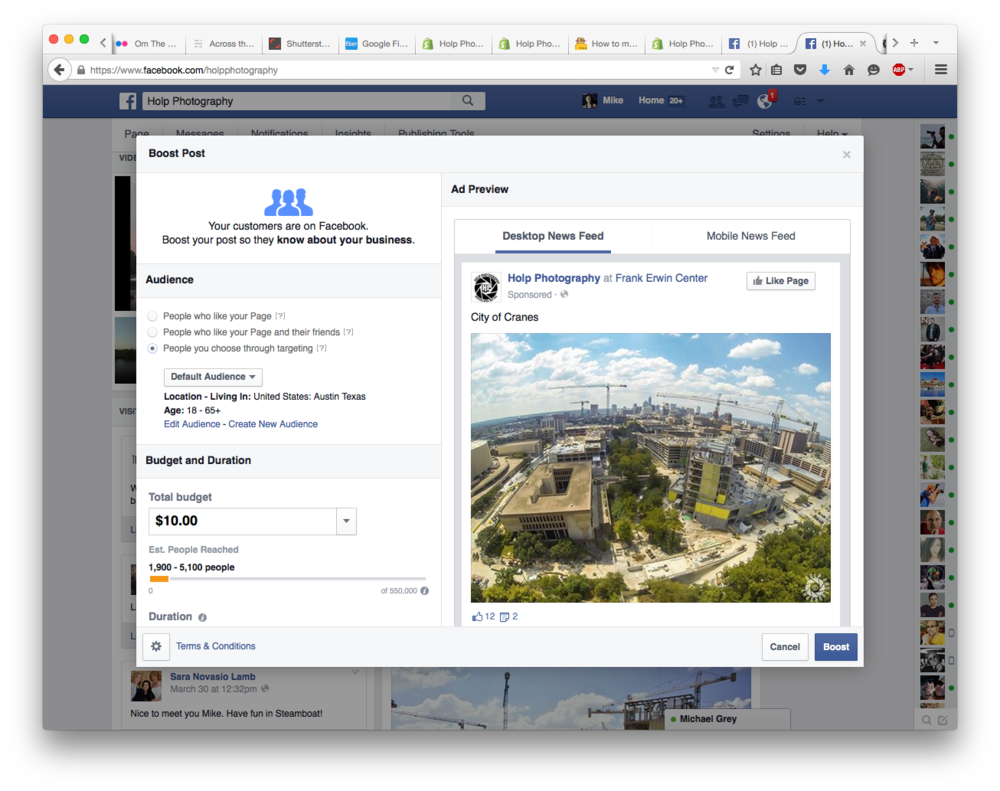 The above screenshot shows that with a budget of just $10, this particular photo has the potential to reach 1,900–5,100 people in the Austin metropolitan area. The proprietary algorithm developed by Facebook encourages this post to show up more frequently on timelines based on the chosen audience.