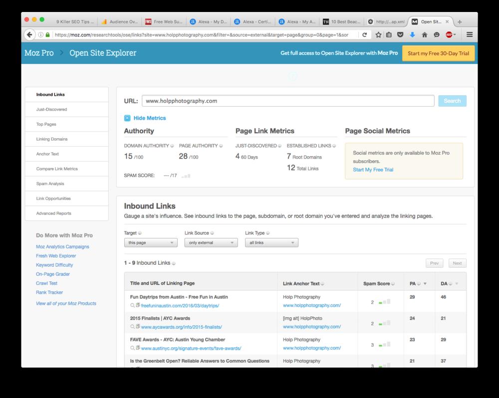 MOZ - Open Site Explorer