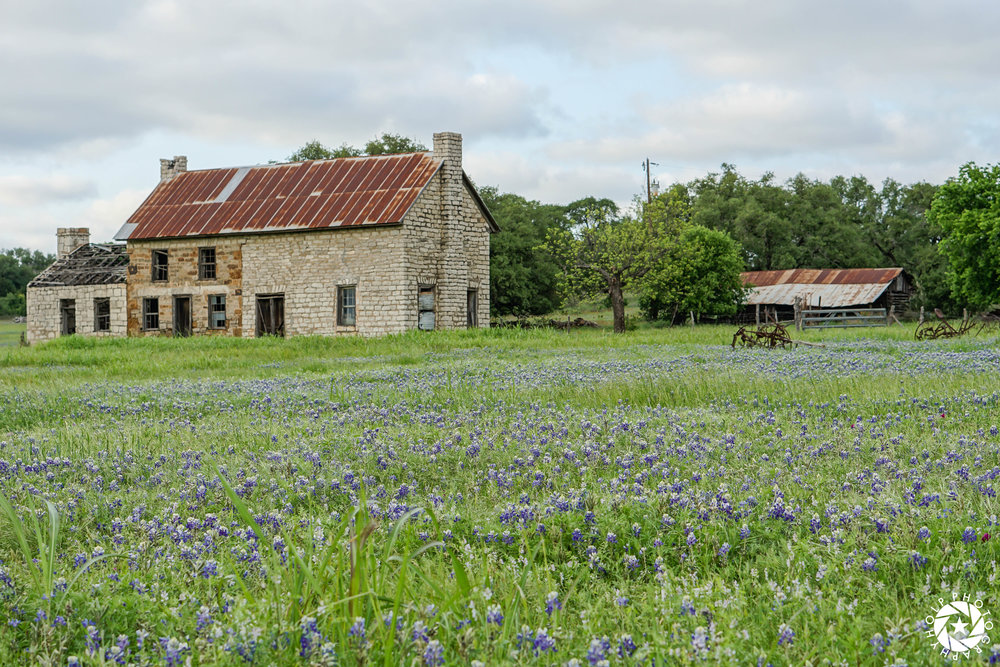 My best photo of the famous Bluebonnet House in Marble Falls, Texas.