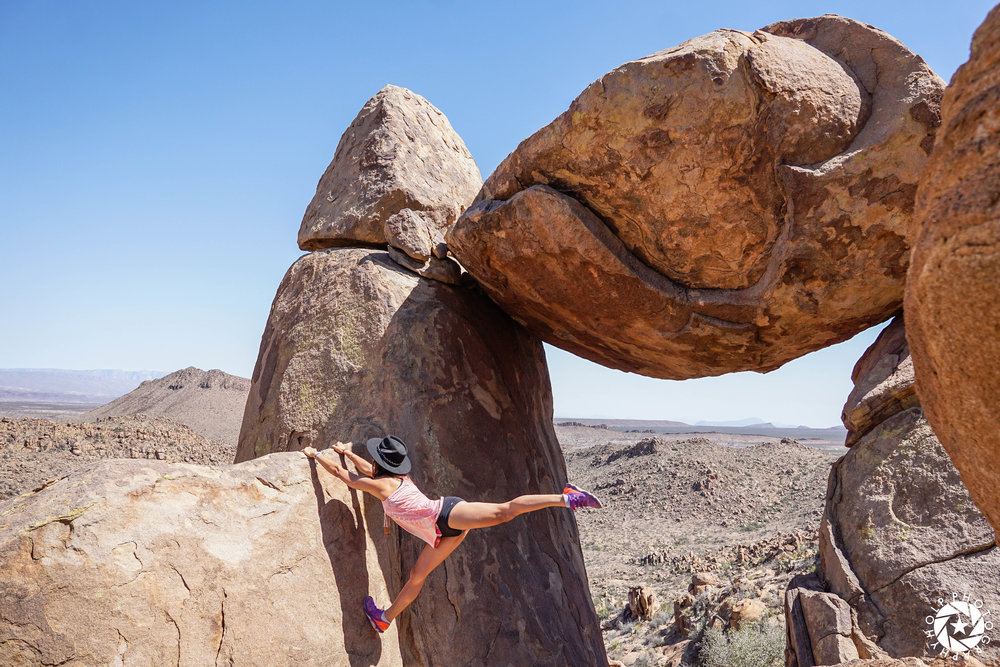 Yoga Pose at Balanced Rock in Big Bend National Park