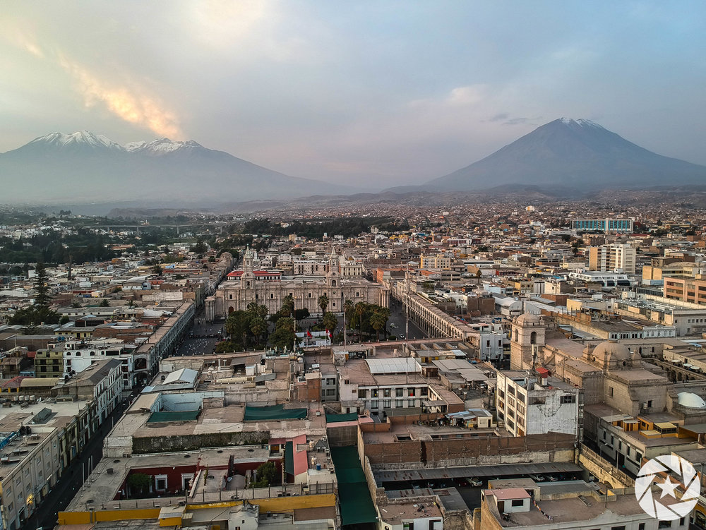 Aerial view of Arequipa, Peru (Misty Volcano towering above the city on right)