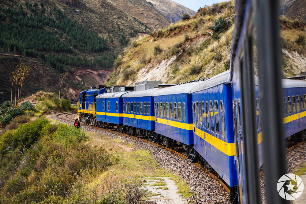 Riding Peru Rail from Puno to Cusco.