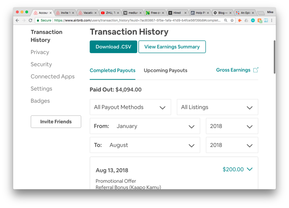 Airbnb Referral Transaction History