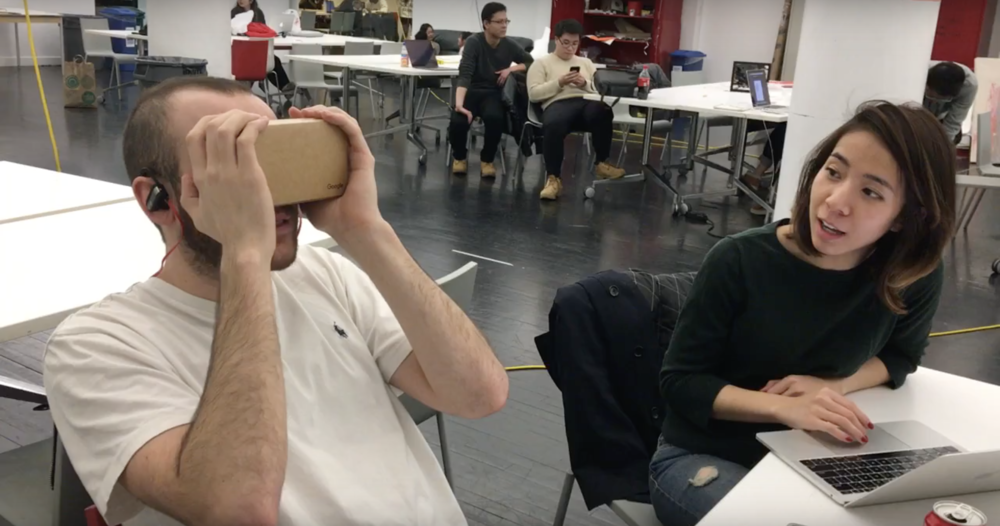 Testing the Google Cardboard prototype.