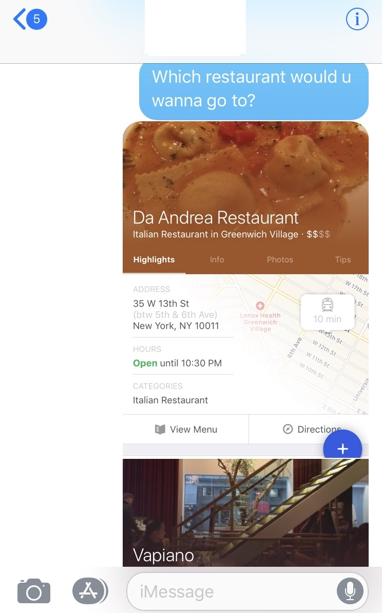 An example of an the current meal planning situation: screenshots of review apps are sent to friends on messaging apps.