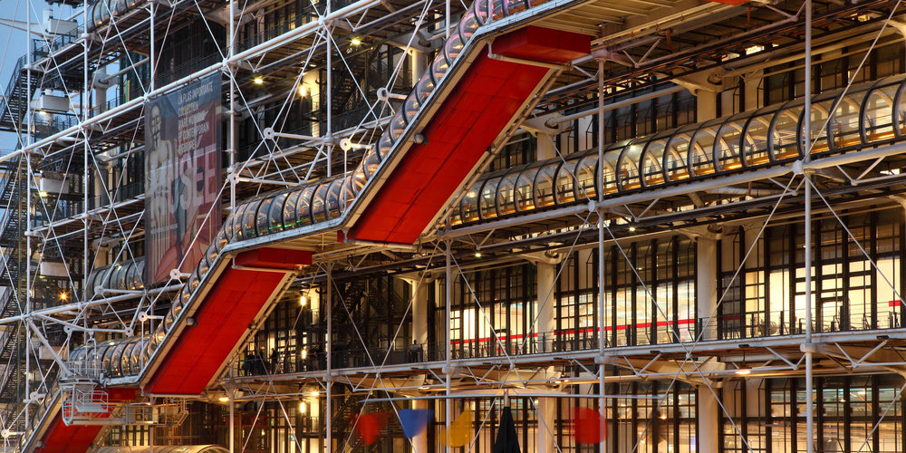 Center Pompidou, featuring a red pipe to circulate people. Image from the internet.