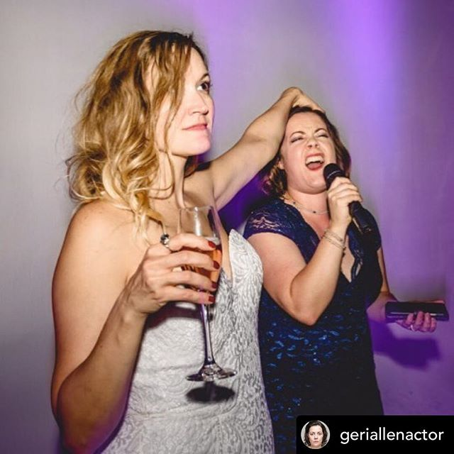 Work wives at the wedding. #repost  from @geriallenactor This photo (@Emmie_scott_photos) says everything it needs to say about mine and @amyinlondontown relationship. I hold the mic but she's the puppet master holding the wine • • • • • #humor #comedian #workwife #comedyduo #womenincomedy #burkeandallen #bebeandluna #singer #actor #cabaret #wedding #wine #nofilter #londontown #london #comedy #hilarious #nochill #relatable #jokes #memes #lmfao  #instadaily #insta #instagram