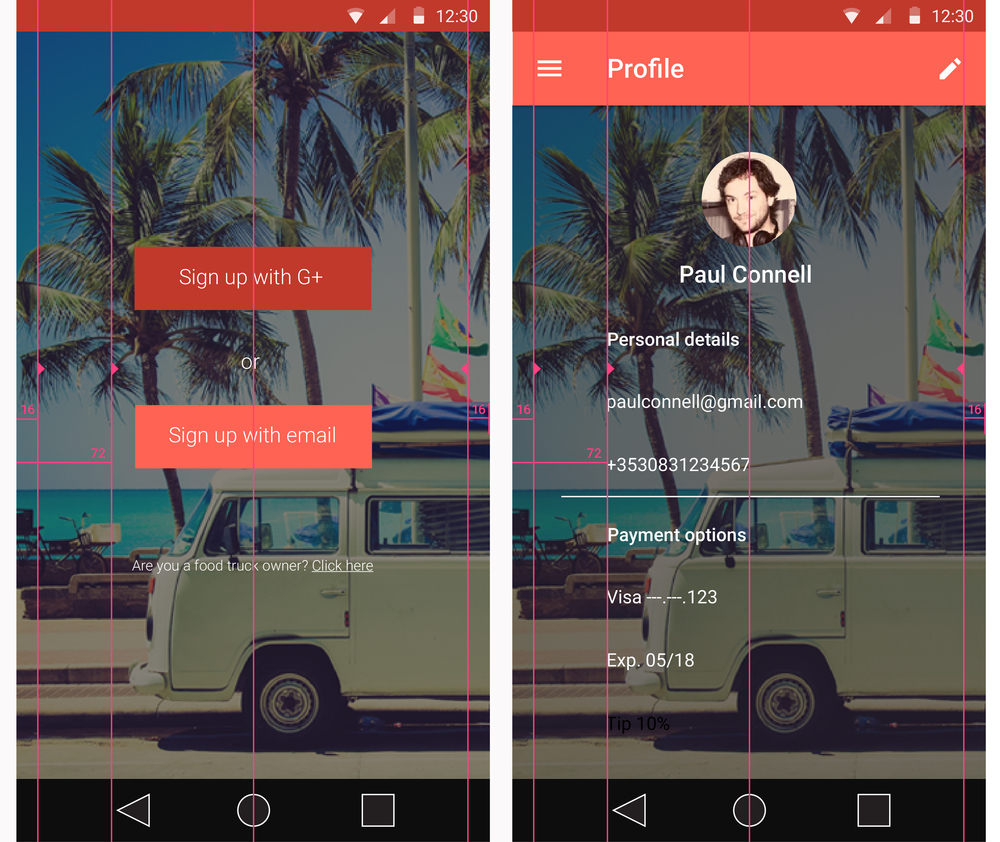 Mock ups with design guidelines from Material Design