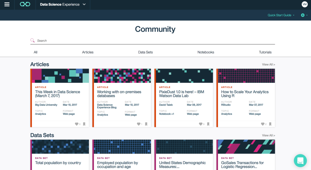 Community page, to learn and share your work with an active community