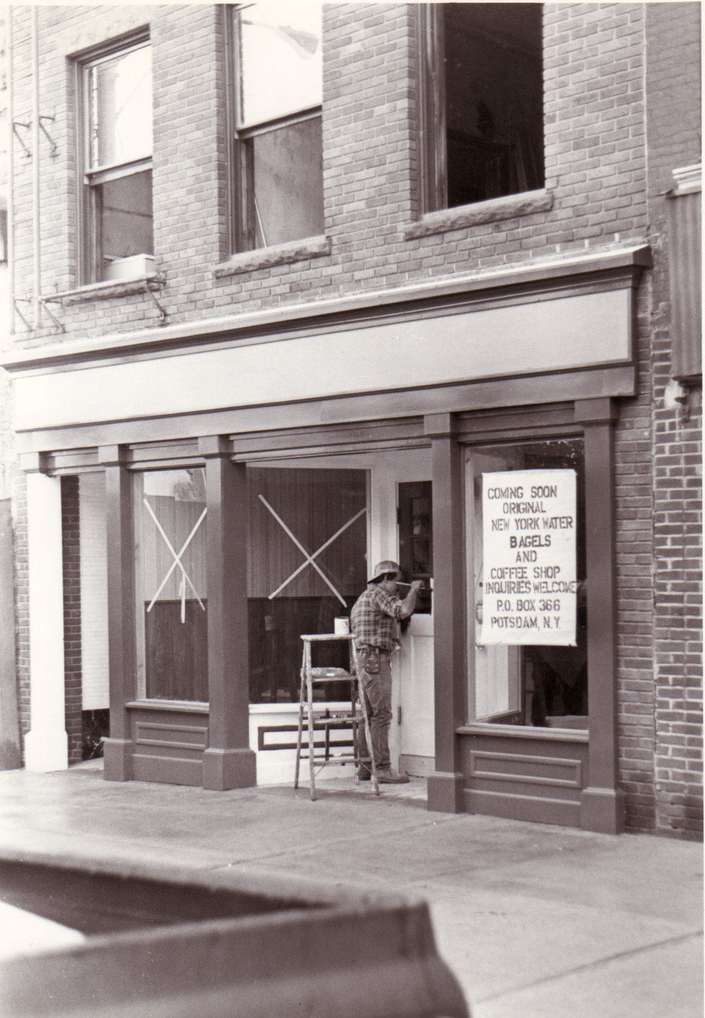 "Original Location in early 1982 ""Coming Soon Original New York Water Bagels and Coffee Shop"""