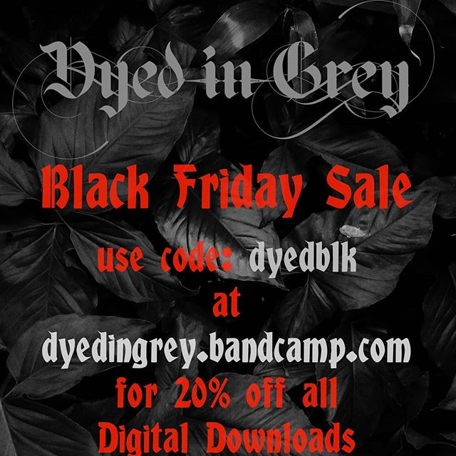 Black Friday sale this weekend. Get 20% off all digital downloads with discount code: dyedblk on our bandcamp page. (link in our bio) #BlackFriday #metal #heavymetal #progmetal #instrumental #shred #guitar