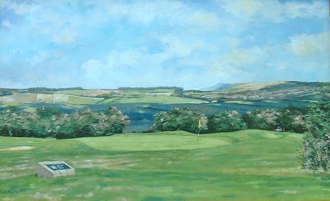 FIRLE BEACON FROM DYKE GOLF COURSE  Oils on board