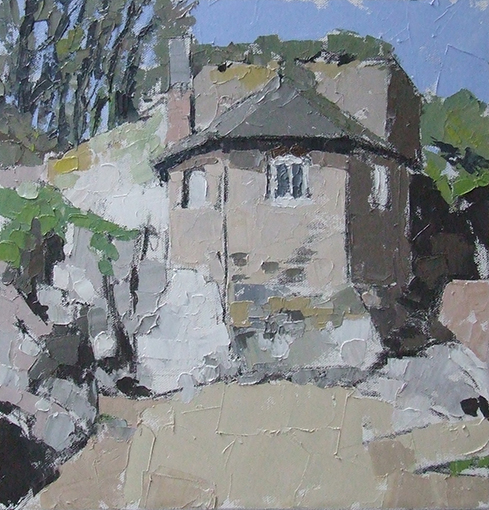 MOTHECOMBE  oils on canvas  £500  box canvas, surface mounted in white box frame   300mm x 300mm