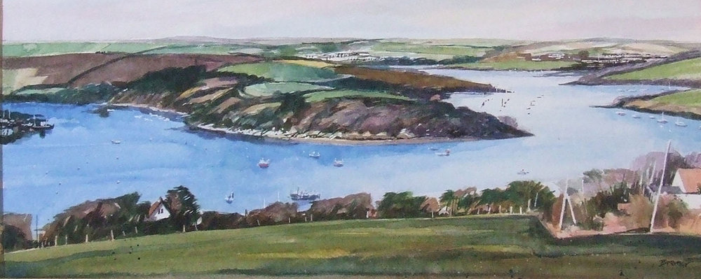 SALCOMBE ESTUARY from East Portlemouth   watercolour  £350  460mm x 200mm  window mounted and framed under glass