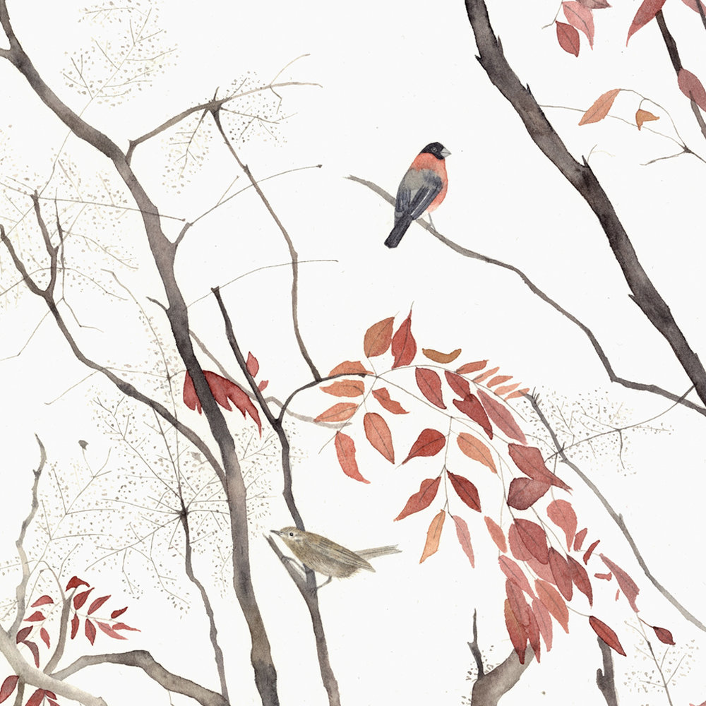 Original watercolour painting of birds, trees and leaves by Lindsay McDonagh