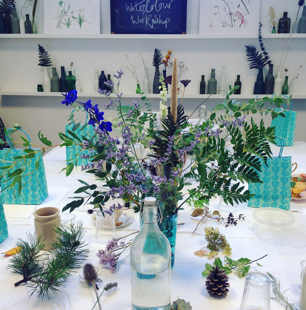Botanical watercolour workshope, Nineteen Clevedon. Photo by Lindsay McDonagh