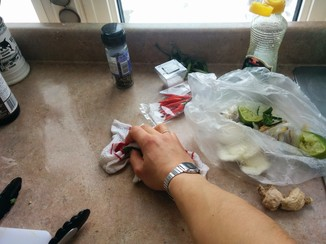 Work clean. Use a plastic produce bag for compost, wipe as you go.