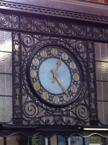 This is the clock in the Verviers train station.