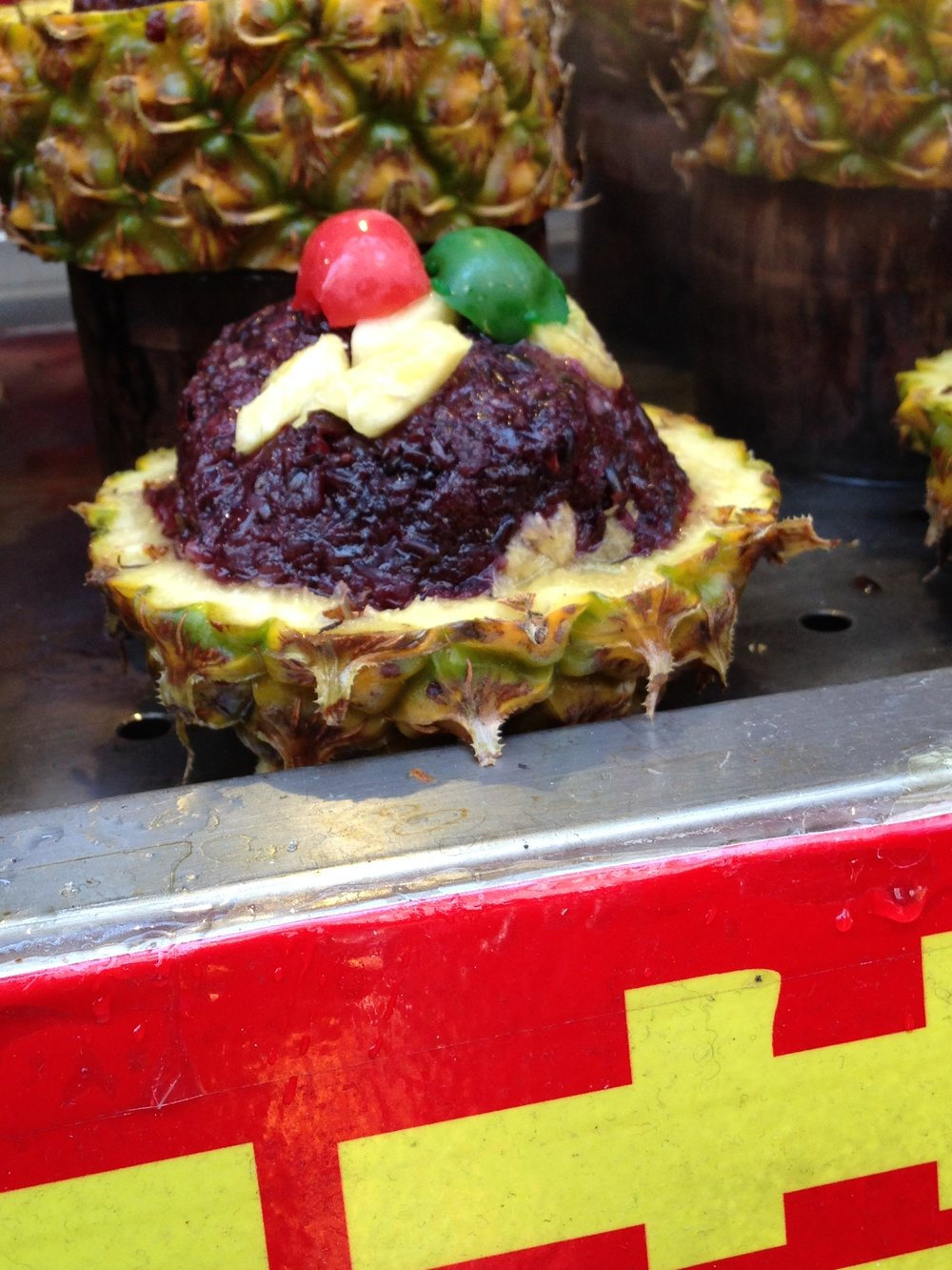 I'm not certain what is in this pineapple. Possibly red rice.