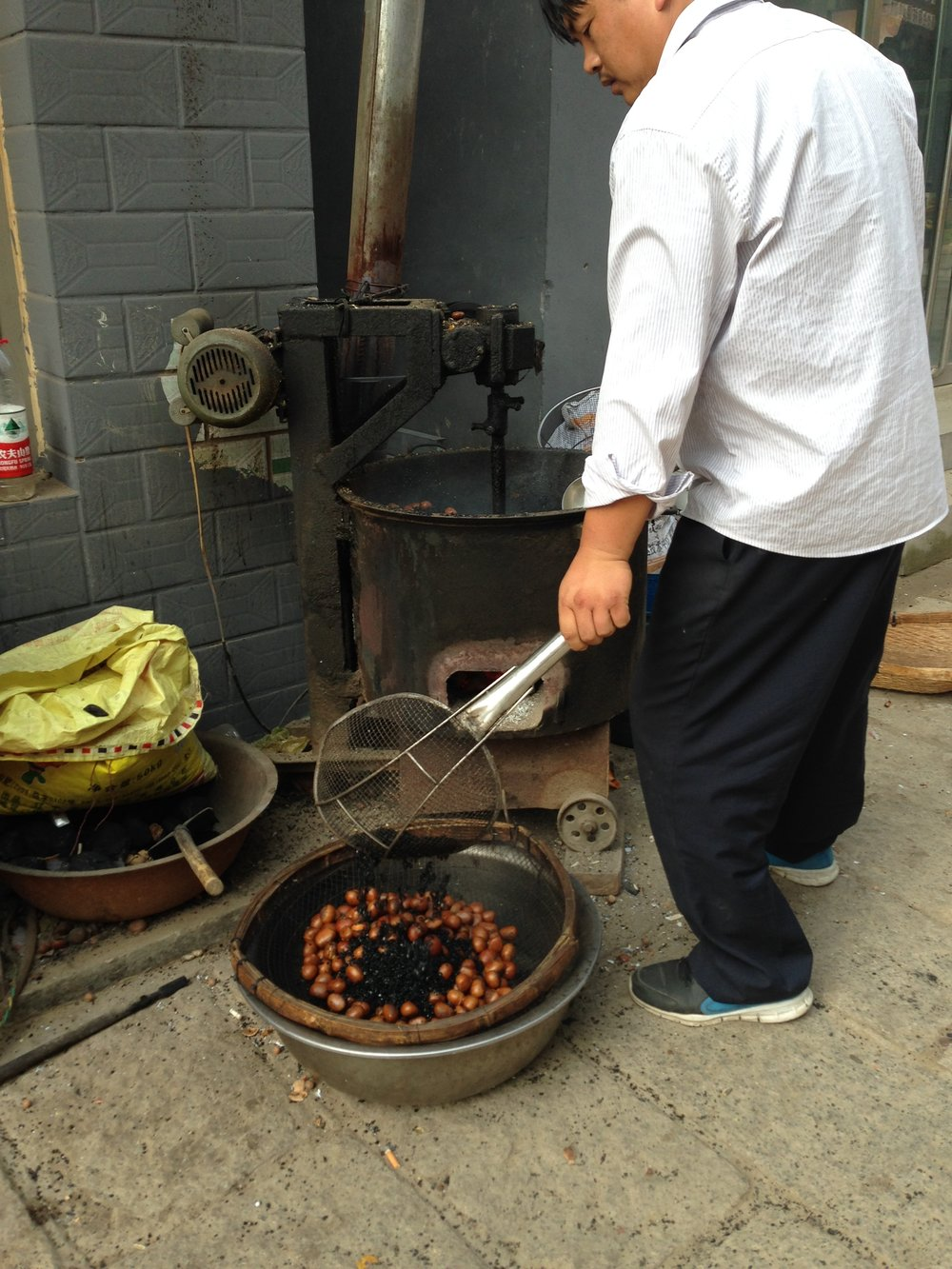 Roasting chestnuts.
