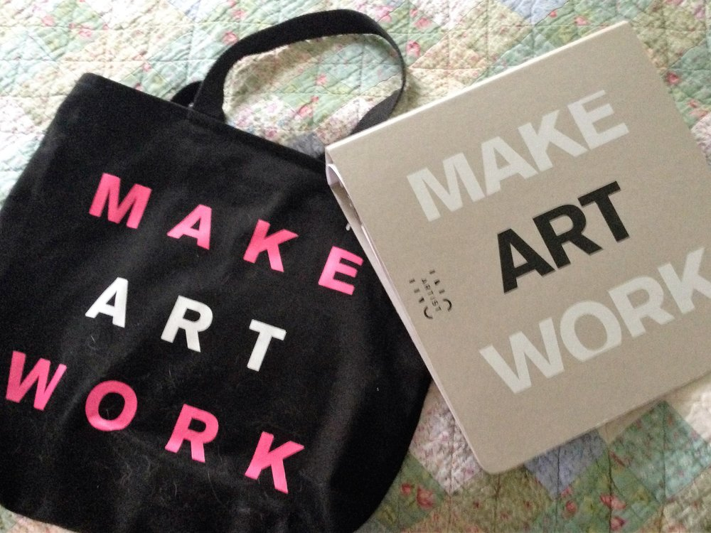 ArtistInc bag and notebook. Sorry about the cat hair--it's a fact of my life, alas.