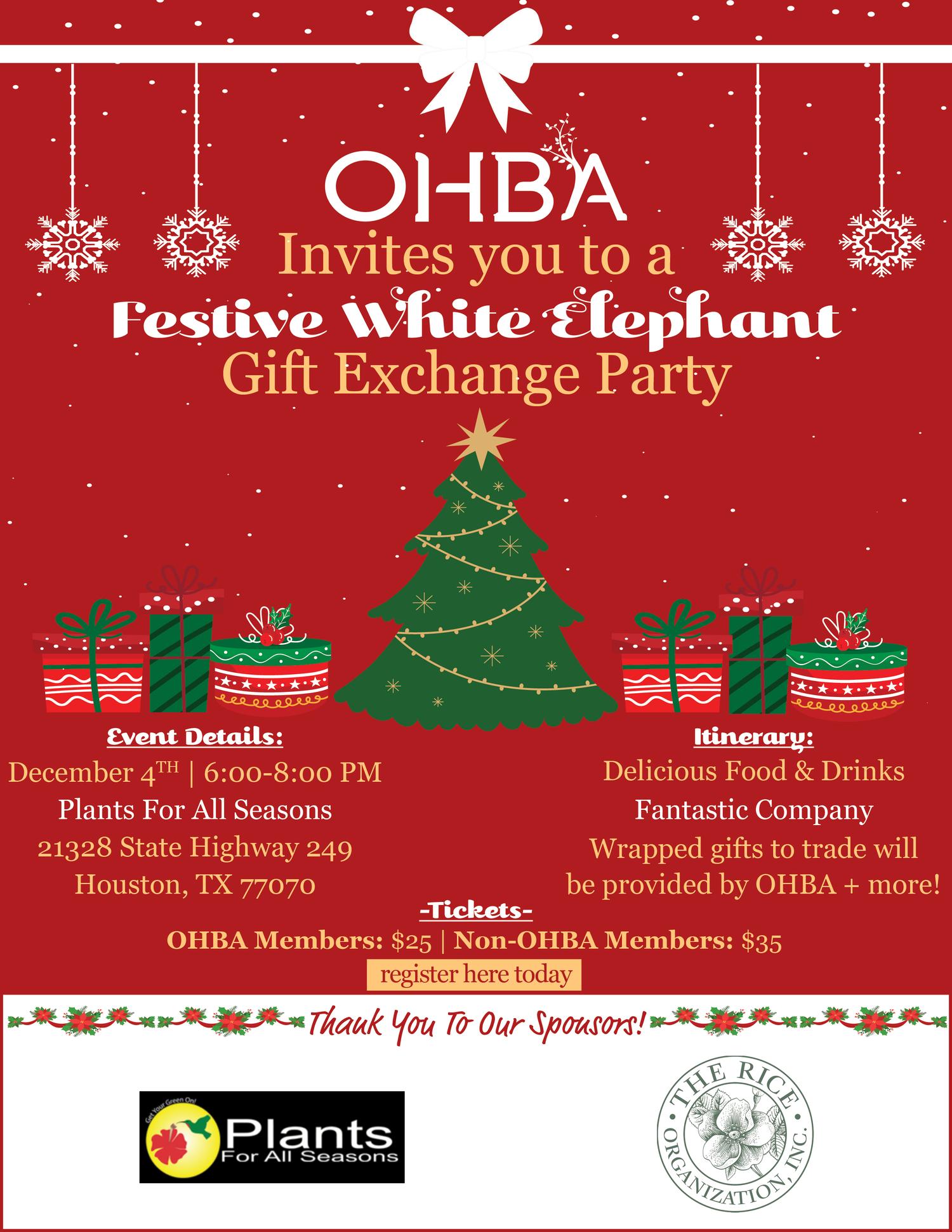 OHBA's 20 White Elephant Party Fundraiser — OHBA   Organic Educators