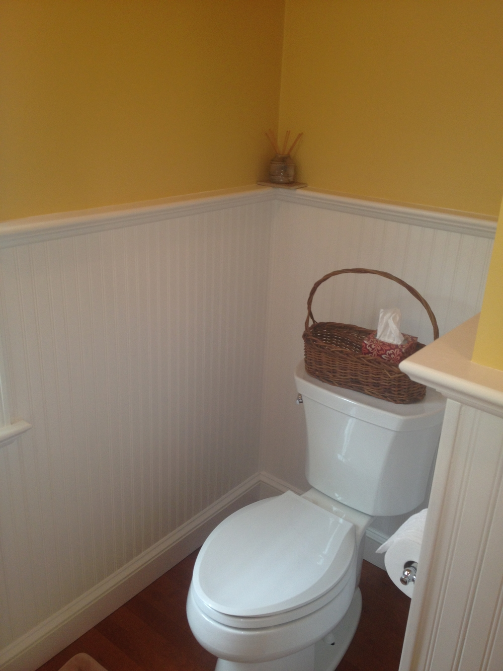 Wainscoting in the bathroom