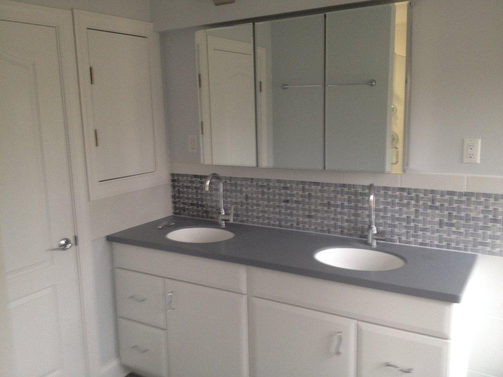 A remodeled bathroom.