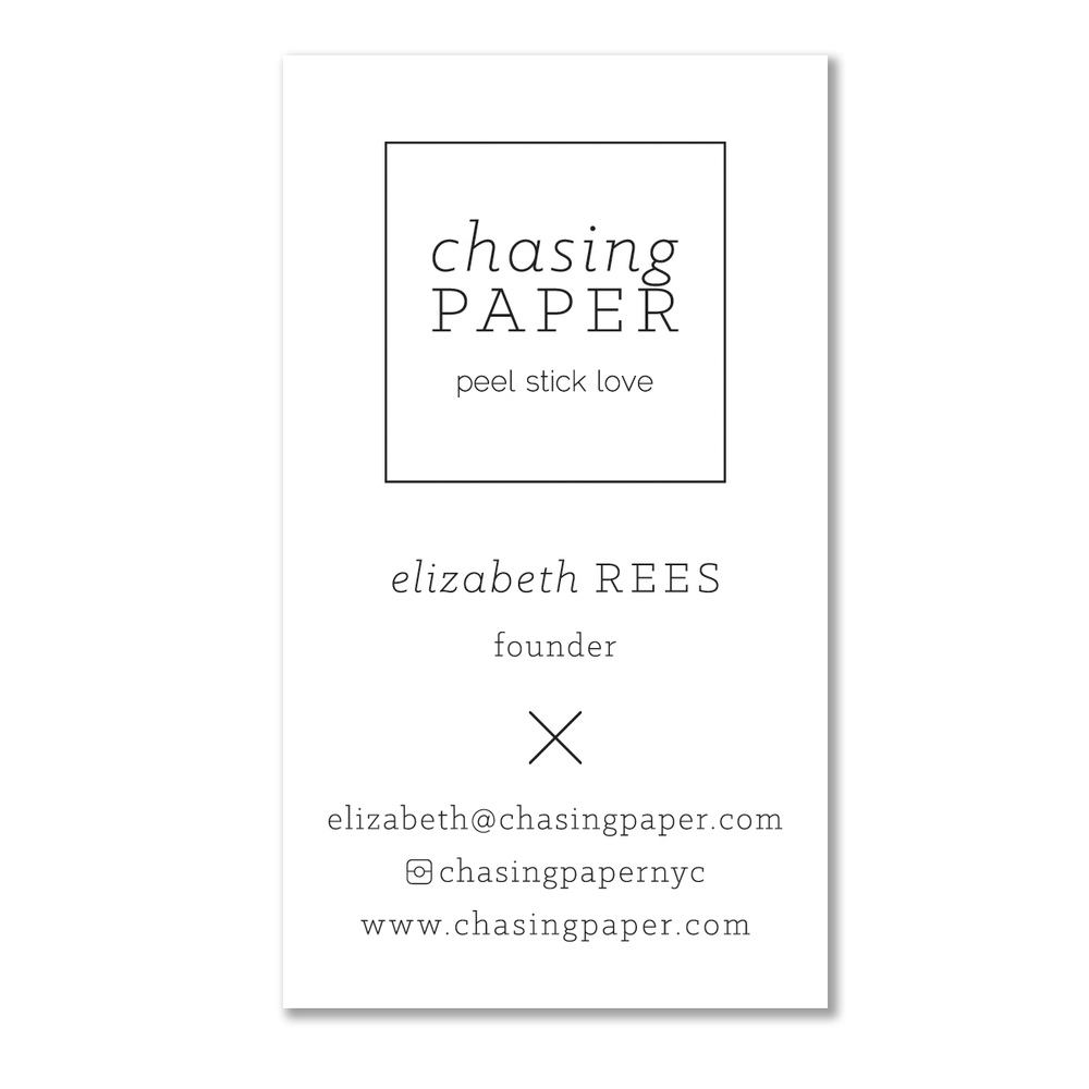 Business card for the founder of  Chasing Paper