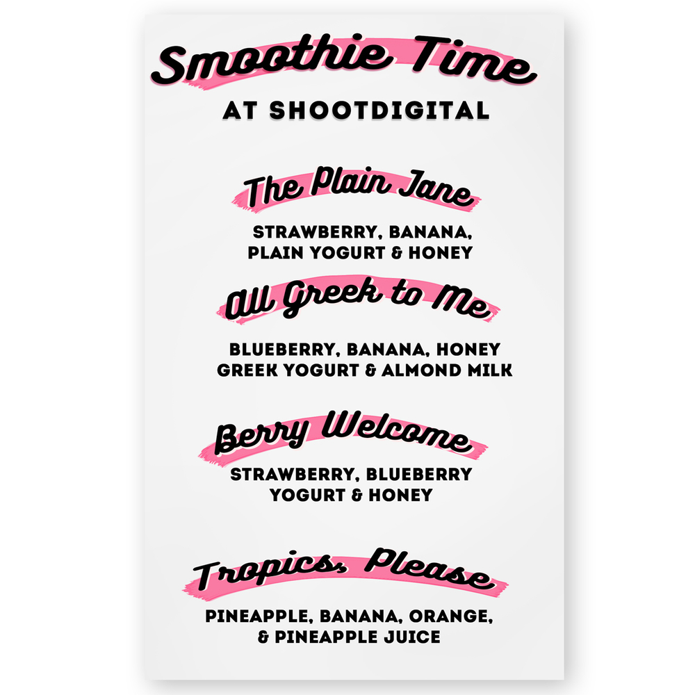 Menu design for shootdigital