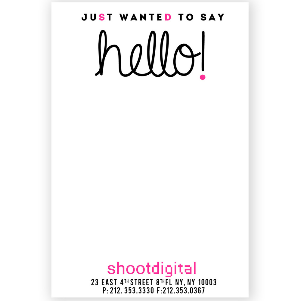 Client welcome card for shootdigital