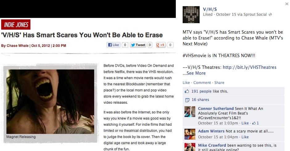Quoted on the official  Facebook page for V/H/S !