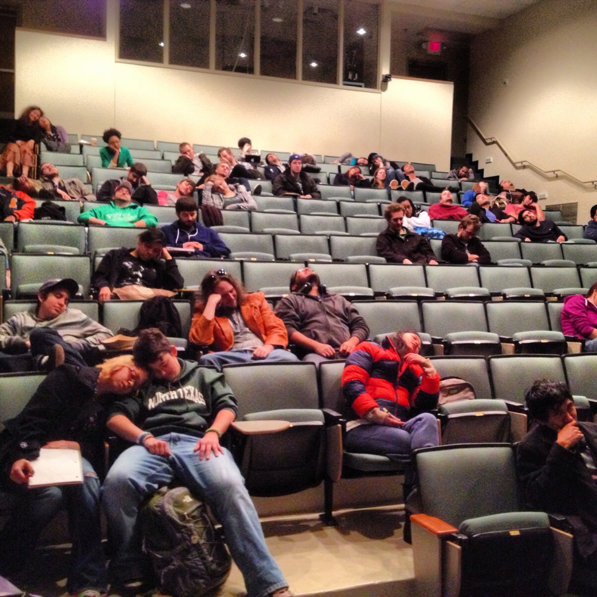 James Wallace and I spoke to film students about Gordon and the Whale and film criticism at our alma mater yesterday, the University of North Texas. We managed to only put 99% to sleep.