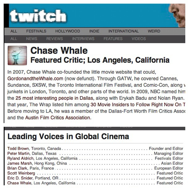 It's official! I'm now a Featured Film Critic on TwitchFilm.com.