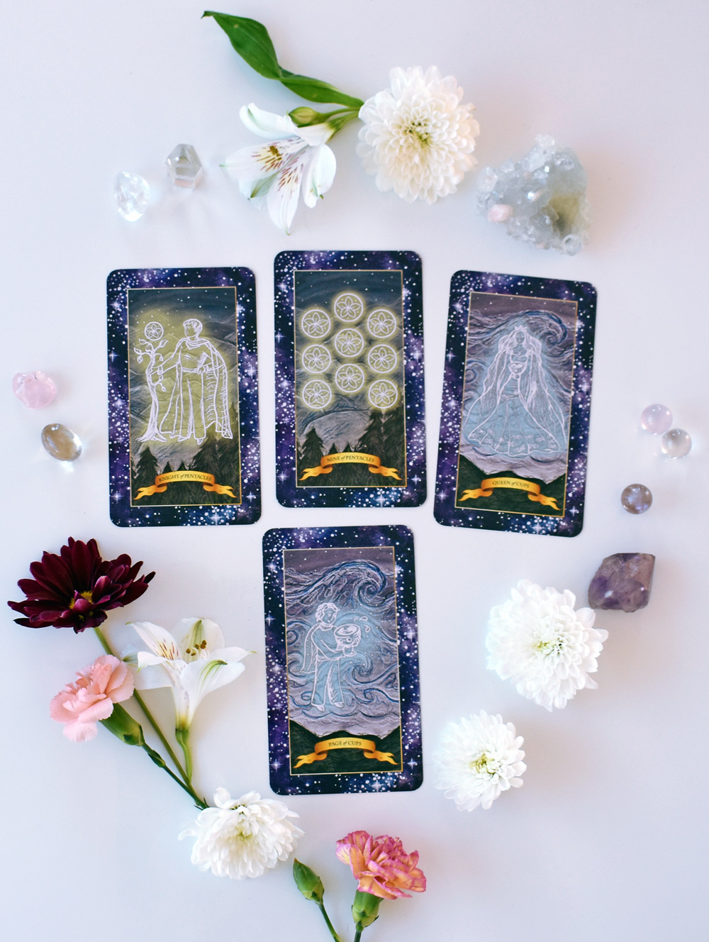 Spread for spring 2018 reading with the Constellation Tarot cards.