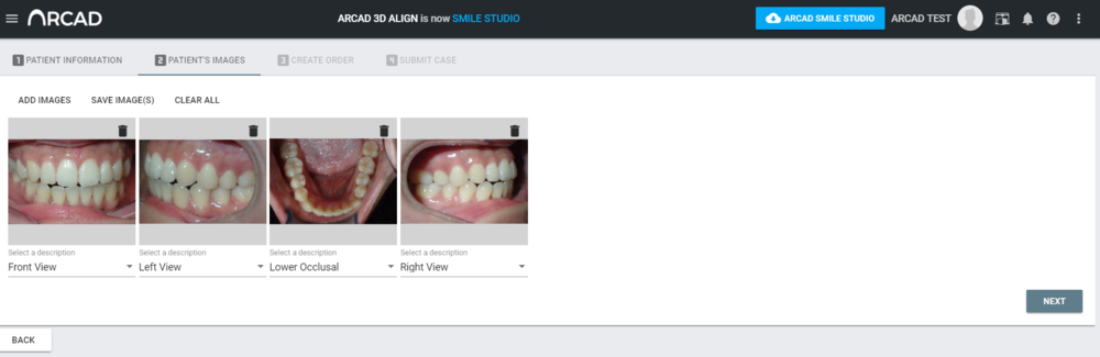 Note: All images loaded on portal will automatically be available to view in Arcad SmileStudio software