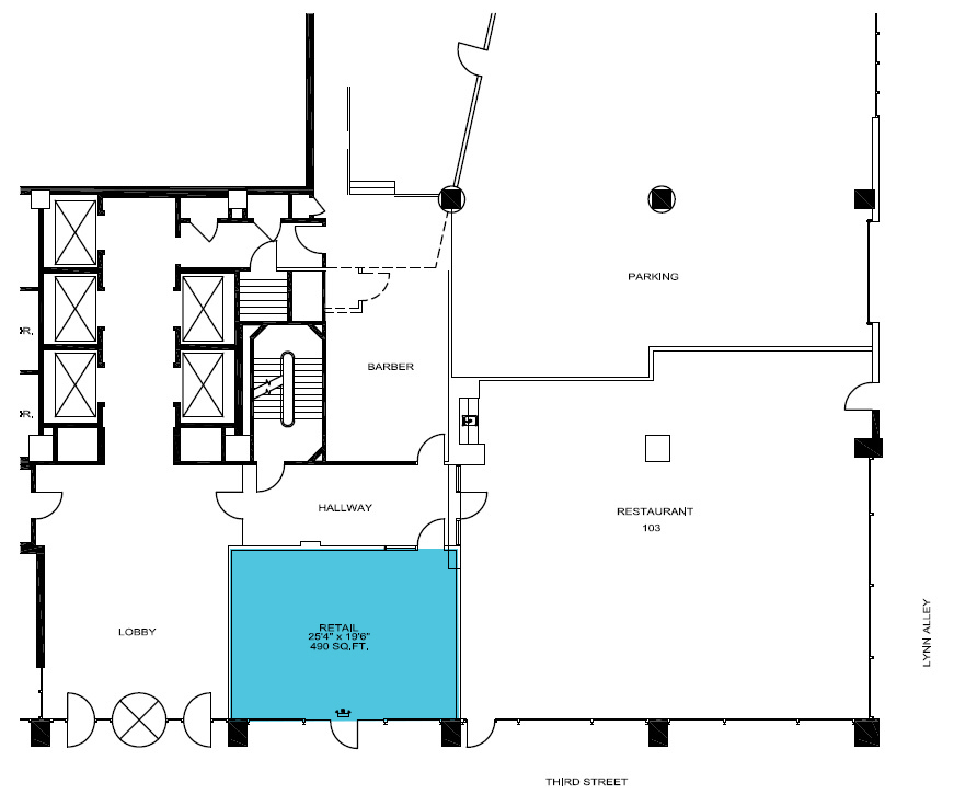 Up to 490 sf RETAIL space available on the first floor lobby.
