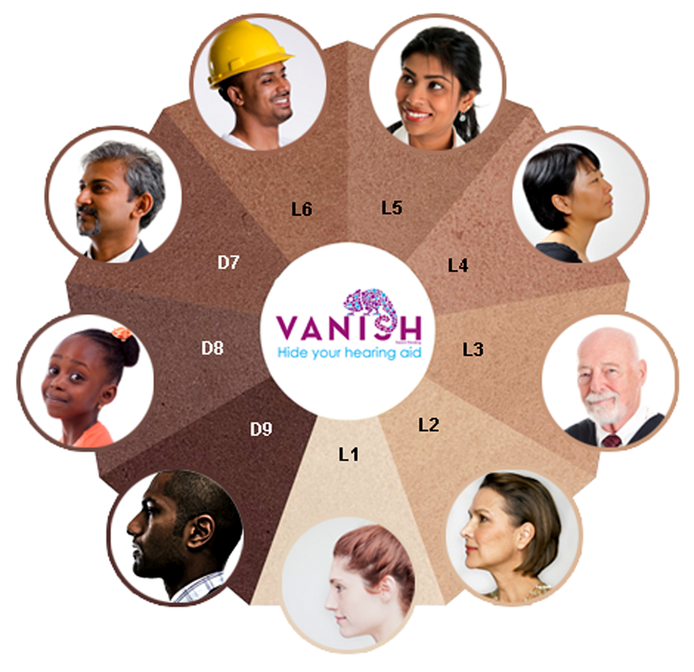 9 VANISH colors to blend with any skin tone.