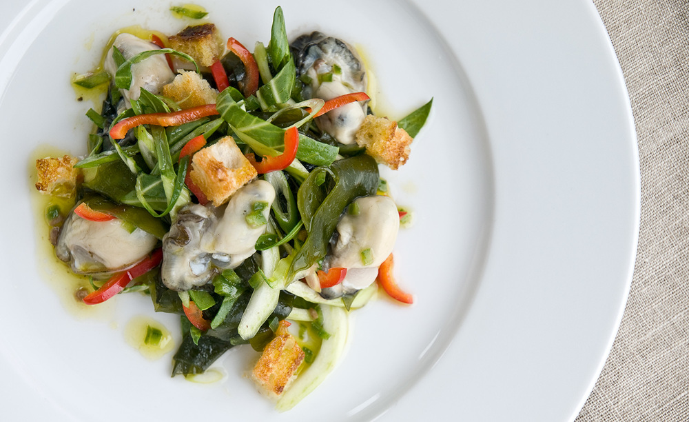 Oyster And Sea Lettuce Salad With Anchovy Vinaigrette