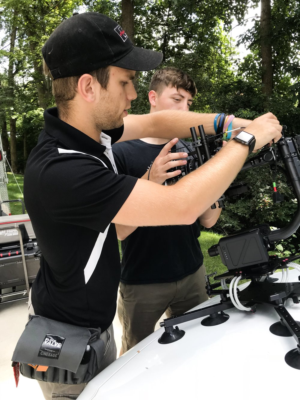 """Thomas (left) and Hunter from Black Valve helped us with all our 48 HFP films this year. Here's them on the set of """"Disconnect."""""""
