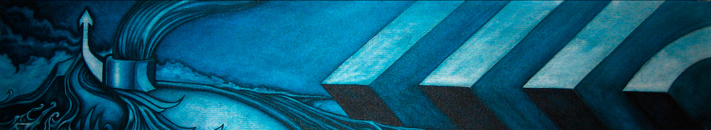 Acrylic on distressed canvas.  24 x 5 inches  2005  $2000.00