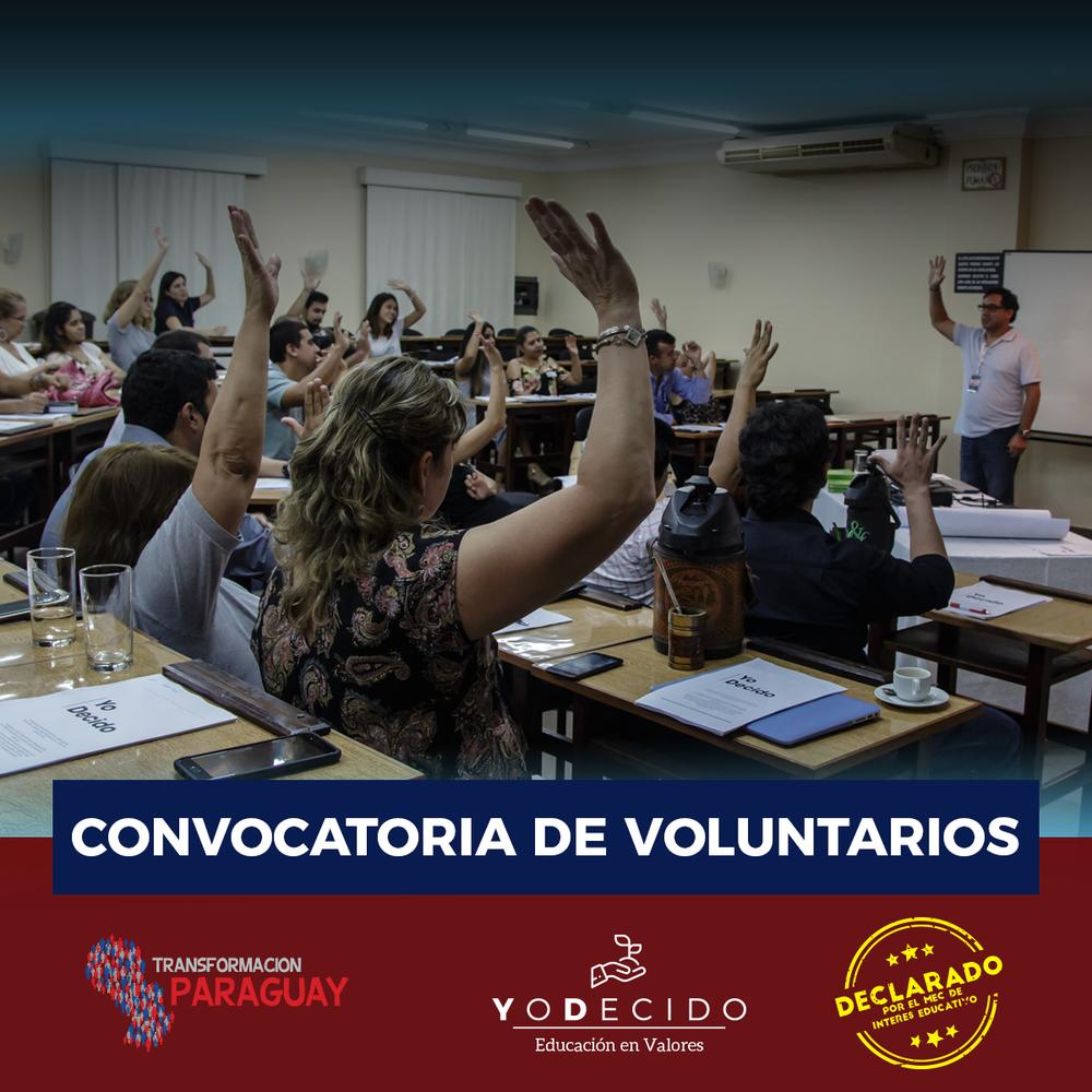 Voluntarios - Si querés ser voluntario en el Programa YoDecido,podés apuntarte accediento a este link o escribiendonos directo al Whatsapp, al 0986 781727 o al mail info@transformacionparaguay.orghttp://bit.ly/YoDecido-inscripcion-voluntarios