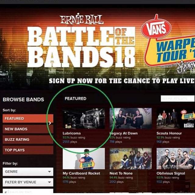 Thanks to all you awesome folks Lubricoma is featured on the Warped Tour website! This means  we're trending and getting a lot of votes and plays.. Please keep listening to the songs, voting and sharing so we can finish this off strong.. We're incredibly grateful to everyone who's really stepped up to support us, nothing has gone unnoticed.. Thank you sincerely :) PS- June 20th we're playing The Emporium in Patchogue. Tix are $10, get in touch w us to attend. This venue is amazing.. We just saw Sevendust and Fuel there and it does not disappoint. Hope to see you crazy cats there!!! #lubricoma #vans #warpedtour #battleofthebands #picoftheday #bestoftheday #instagood #instamood #follow #emporium #bleedingfingersbloodyguitar