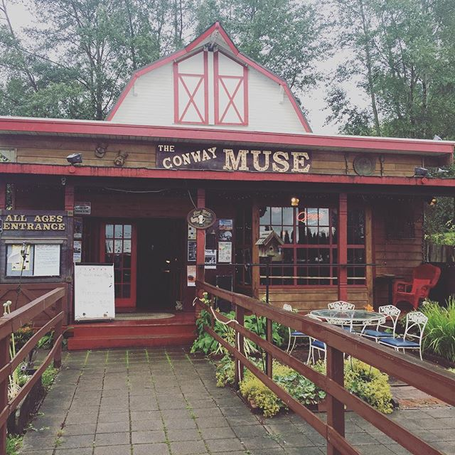 Show 89 - 6/23 - Conway Muse - Conway, WA. Middle of nowhere and really scenic. A couple ladies in the audience explained to us that the weather there is often very dismal and depressing, and our music was fitting. #conwaymuse #rainy #sadness #scenic #thereceiver #thereceivermusic