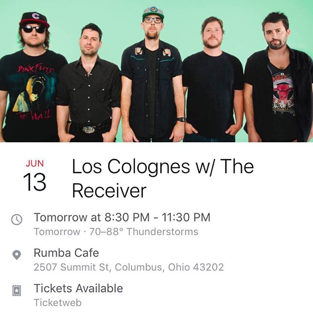 Playing tomorrow (Tuesday) night with a favorite band of ours @loscolognes at Rumba! Our only summer show, so we'd love to see you! #loscolognes #summershow #jams #thereceiver #thereceivermusic @celebrityetc