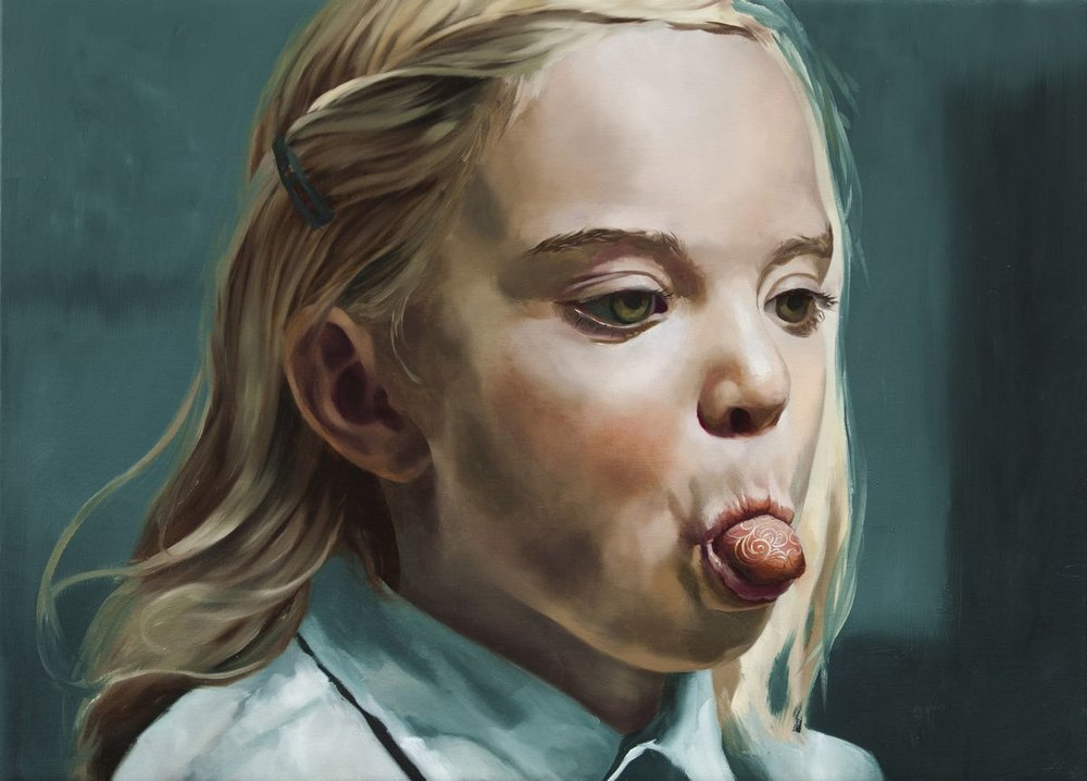 Girl with a cloisonne tounge, 2014, Markus Åkesson, 40x50cm, oil on canvas.JPG