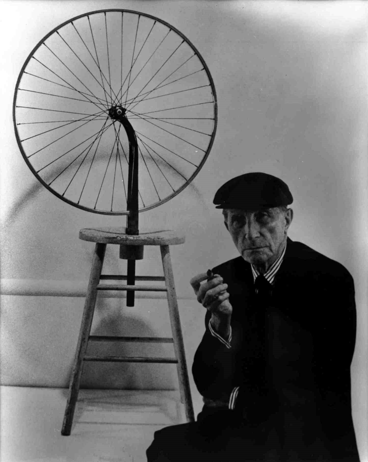 Marcel Duchamp with  Bicycle Wheel, 1913